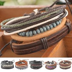 1Set 4pcs Braided Adjustable Leather popular Bracelet  Cuff  Women  Men`s Casual Jewelry -- Click the VISIT button to enter the website
