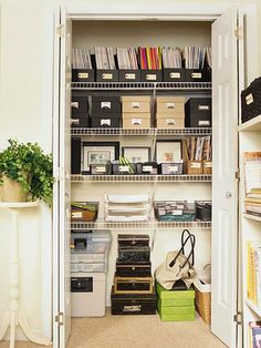 Quoted from Better Homes and Gardens: Max out available space in an office closet with adjustable wire shelving. Use open baskets for supplies you access regularly and boxes with lids for infrequently used items. Divide papers to be filed in layered trays and set up file folders for items that require action in the upcoming month.