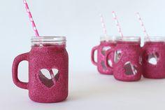DIY Glitter Mason Jar Mugs | Darby Smart