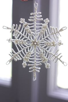 Christmas ornament Crochet snowflake in Off White cotton thread (12 cm) by loukippi on Etsy