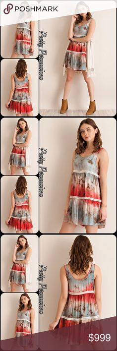 NWT Tie Dyed Viole & Lace Tie Dyed Slip Dress Coming Soon (available in green combo in separate listing). Also currently available in light mocha, light gray, blush, tie dyed ombré aqua & navy, and tie dyed ombré pink in separate listings. Pretty Persuasions Dresses