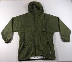 VINTAGE HELLY HANSEN MILITARY GREEN HOODED PARKA JACKET RAIN SAILING XL 5361 | eBay