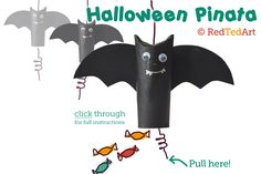 DIY CRAFT ** Toilet paper rolls **  toilet roll halloween bat pinata