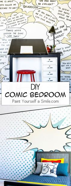 Wow! Unbelievable Kid's DIY Bedroom Makeover. This room is full of fun DIY walls and great DIY furniture all done in a pop art theme. Comic Bedroom on a DIY budget!!
