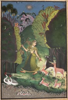 "Todi Ragini. Opaque watercolor, gold and silver on paper, Bundi or Kota, Rajasthan, ca. 1760, ""Todi, Ragini of Bhairu; to be sung in the day."""