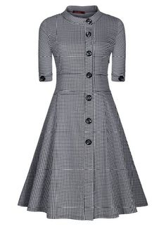 Miusol Women's Half Sleeves Button Down Vintage Retro Check Swing Skater Evening Dress,Size S