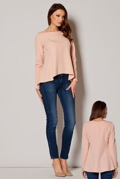 Just bought this for work, what do you think? Dipped-hem embroidered blouse in pink