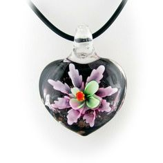 Lavender Murano Glass Flower Heart Pendant Rubber Cord Necklace Sterling Silver Clasp 18 Inch Pendants by Joyful Creations. $9.99. Save 60% Off!