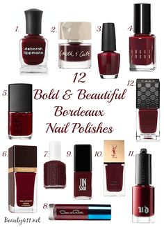 12 bold & beautiful Bordeaux nail polishes...pin & save this one!