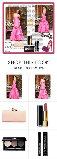 """""""Dress Gown Store"""" by zijadaahmetovic ❤ liked on Polyvore featuring Sherri Hill, Christian Louboutin, Ted Baker, Chanel, Edward Bess, FusionBeauty, Roberto Cavalli, women's clothing, women and female"""