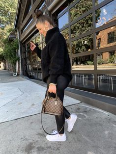 5 WAYS TO WEAR SPANX LEATHER LEGGINGS   THE RULE OF 5 Winter Fashion Outfits, Fall Winter Outfits, Chic Outfits, Fashion Dresses, Work Outfits, Spanx Leather Leggings, Sneakers Outfit Casual, Mode Poster, Sweaters And Leggings