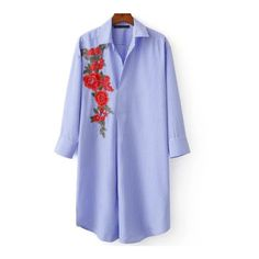 Blue Vertical Striped Flower Embroidery Curved Hem Blouse (480280 BYR) ❤ liked on Polyvore featuring tops, blouses, blue top, curved hem top, vertical stripe top and blue blouse