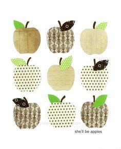 Kitchen Art Print Apple Art She'll Be Apples Brown by BeekDesign