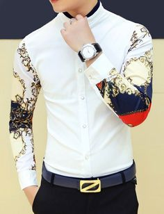 $12.96 Stylish Personality Stand Collar Slimming Colorful Print Splicing Long Sleeves Shirt For Men