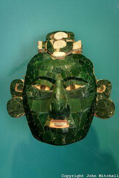 Teotihuacan style jade mask from Onkintok, Yucatan. Museo Maya de Cancun or Cancun Mayan Mayan Museum .
