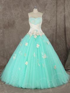 カラードレス プリンセスライン ミントグリーン シャンパン チュール 小花 ハートネック B12187