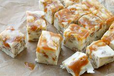 White Chocolate Caramel Pecan Fudge Recipe - get the recipe at barefeetinthekitchen.com