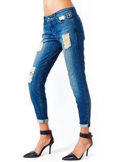 "Women's ""Boyfriend-Patched"" Vintage Wash Stretch Jeans by Kill City (Light Blue) #inkedshop #boyfriend #patched #jeans #skinnyjeans #ankle #fashion #bluejeans #rippedjeans"