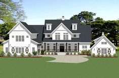 Barn Style House Plans with Wrap Around Porch . Barn Style House Plans with Wrap Around Porch . Barndominium Floor Plans 2 Story 4 Bedroom with Shop Barn Style House Plans, Porch House Plans, House Plans One Story, Modern House Plans, Large House Plans, House Porch, Modern Roof Design, House Roof Design, Country House Design