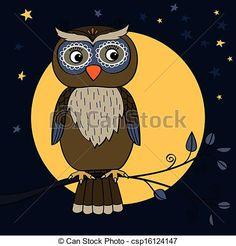 EPS Vector of owl tree moon - Owl on tree branch at moon night ...