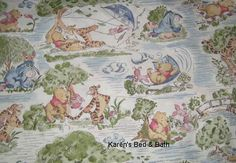 Winnie the Pooh Fabric with Pooh By the Yard, Quarter Yard Fat Quarter Bear Toile Fly Kite Windy Day Disney Cotton Quilting Fabric t5/26