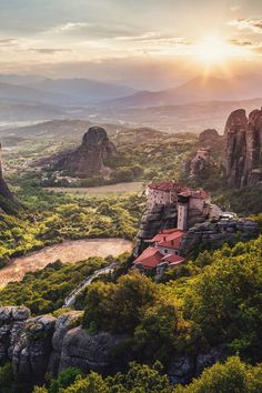 """The historic Meteora monastary in Greece. Otherwise known as 'the middle of the sky'. (photo via extremelywonderfulplaces.tumblr.com)"