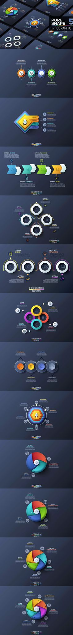 Pure Shape Infographics Template AI, EPS, PSD