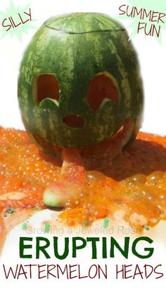 Next time you buy a watermelon why not PLAY with it after you enjoy the yummy fruit? Erupting Watermelon Heads- silly Summer FUN!