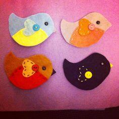 Felt garden birds - robin  , blackbird, blue tit and chaffinch  Made by Pickle-Lily