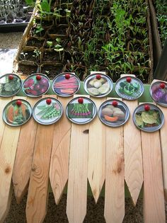 Great Idea for a GARDEN! old can lids with picture of the veggie , posted to some wod!