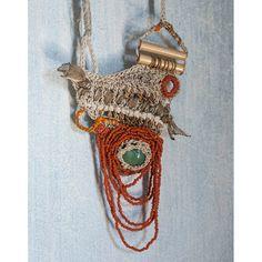 Free Form Crocheted Necklace in Beige Cream with Green von natartg, €150.00