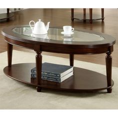Furniture of America Crescent Dark Cherry Glass Top Oval Coffee Table - Couchtisch Decor, Furniture, Cherry Wood Coffee Table, Oval Coffee Tables, Sofa End Tables, Table, Home Decor, Coffee Table Stand, Traditional Coffee Table
