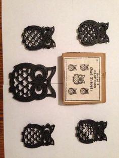 Owl Kitchen Decor Vintage Cast Iron Metal Owl Trivet Set Of 5 Great Kitchen