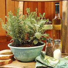 a centerpiece created out of potted herbs in a ceramic bowl  For a year-round centerpiece that pulls its weight in the kitchen, plant a large bowl with assorted herbs. Pick plants that have the same sun and water requirements, since they'll be roommates, so to speak. Pinch off a few leaves as you're cooking for a fresh-tasting boost of flavor to your dish. Great herbs to try include basil, thyme, rosemary, and parsley.
