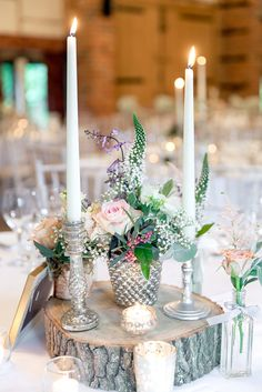 Rustic Vintage Centrepiece | Lainston House Barn Venue | McKenzie Brown Photography | http://www.rockmywedding.co.uk/sarah-nathan/