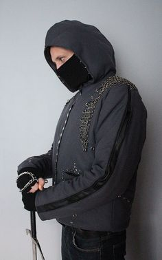 Chainmail Assassin's Rock - Metal - Goth Winter Men's Jacket - L