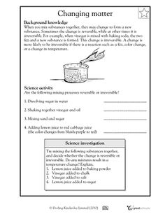 Reversible and irreversible changes in matter - Worksheets & Activities…