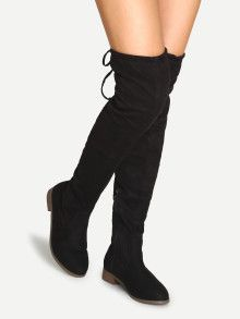 983e09bbc67 Black Suede Over The Knee Zipper Boots Low Heel Boots
