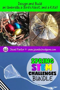 Spring STEM Activities BUNDLE for Kids (Spring STEM Challenges) | This is a bundle of three of my Spring STEM activities for the elementary classroom: Umbrella STEM Challenge, Bird's Nest STEM Challenge, and Kite STEM Challenge. These are fun, creative, and engaging for children! They will surely get your students designing and building during this time of year. #springstemactivities