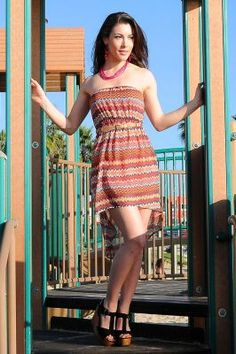 New dress pops with a hi low silhouette featuring tube top and rope waist belt. It is a perfect beach dress for girls who want to stay in style every day and everywhere. Hurry... Limited edition...