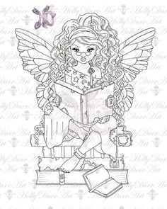 digital stamp Fairy - one dollar off - Digital Stamp fairy reading fairy books stars Card Making Printable Coloring Page line clip art