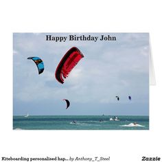 Kiteboarding personalised happy birthday card.  A kiteboarder's journal, featuring a photo of spectators watching the start of a kite boarding race off the coast of St Malo, Brittany, France. It's a great gift for anyone who loves to kite board, and the front can be personalised with any name or text.