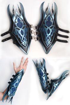Bracers of the Void by OrangeMoose.deviantart.com on @deviantART Arm Armor, Body Armor, Fantasy Weapons, Fantasy Armor, Larp, Cosplay Kostüme, Costume Armour, Leather Armor, Cosplay Tutorial