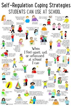 Coping strategies kids can use at school for self-regulation when they feel big emotions. Education Positive, Kids Education, Positive Behavior, Higher Education, School Social Work, School Counseling Office, Elementary Counseling, School Counselor Organization, School Counselor Lessons