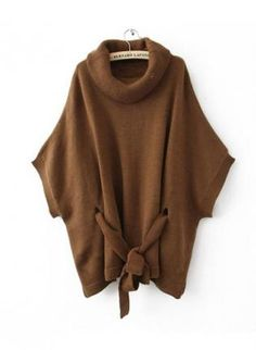 Brown Cape-style Loose Bat Sleeve Sweater S000459,  Sweater, Brown Cape-style Loose Bat Sleeve Sweater, Chic