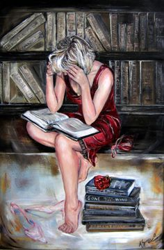 Love of books - Oil on canvas by Anna Sponer