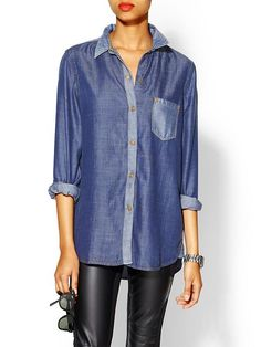7 For All Mankind Colorblocked Denim Shirt