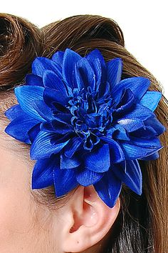 Blue Dahlia hair pin