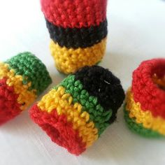 Rasta set of 5 dreadlock beads Freeform Crochet by foundthings, $25.00