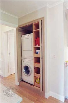 So i wont junk up my laundry room. Laundry closet with stackable washer/dryer hidden behind pocket doors - Royal Cabinet Company Small Closet Space, Small Laundry Rooms, Small Closets, Laundry Room Organization, Laundry Room Design, Laundry In Bathroom, Small Spaces, Hidden Laundry, Basement Laundry